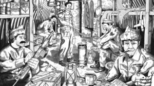 A sketch depicting what bunker life for the Auxiliary Unit might've looked like.