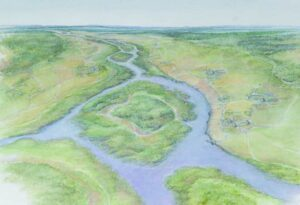 Reconstruction of the landscape around London's Lea Valley during the Mid Holocene period (Bronze Age), c3000 BP (Mola)