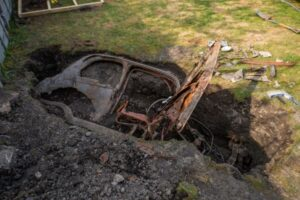 John has appealed for any knowledge of how the 1950s car came to be buried