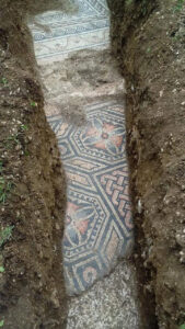 Image show the pristine mosaic as well as foundations of the villa.