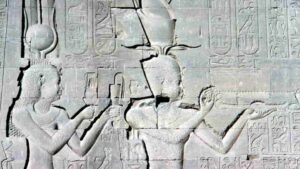 Image of Cleopatra and Caesarion at the Temple of Hathor, Egypt.