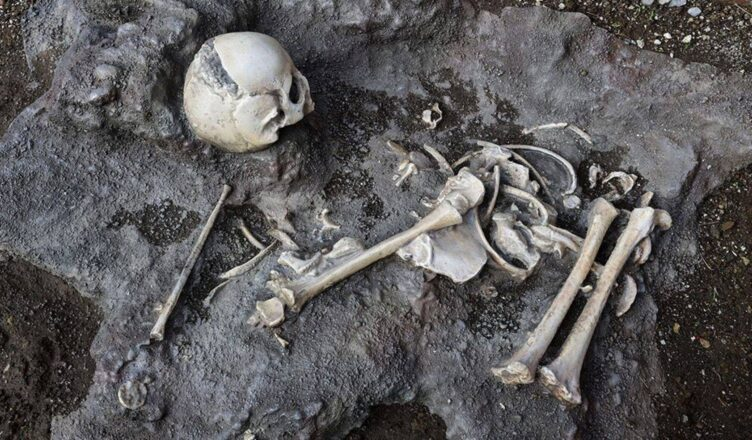 Tragic remains of Pompeii child who tried to shelter from volcano found at 'grand baths'