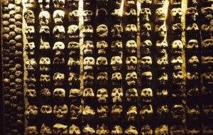 A stone Tzompantli (skull rack) found during the excavations of Templo Mayor (Great Temple) in Tenochtitlan. New research has found the 'skull towers' which used real human heads were just a small part of a massive display of skulls known as Huey Tzompantli.
