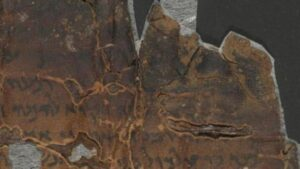 Part of the scroll discussing judgment day, before being scanned.