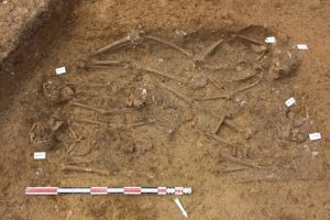 This group of four people was buried head-to-toe in a small, trench-style grave