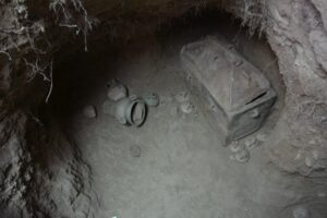 The ancient chamber tomb was entirely intact and undamaged by looters.