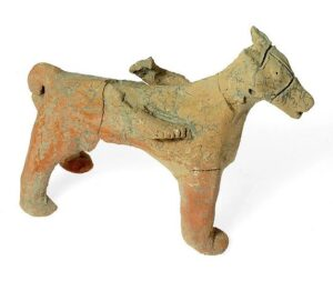 Figurine of a horse found in Tel Motza Iron Age temple in the excavation site.
