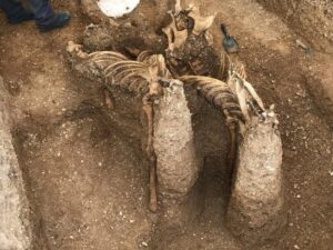 The horses were buried to look as if they were jumping out of the grave