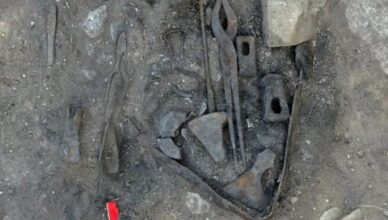 Viking's blacksmith tools and weapons found in grave, ca. 800 A.D. Norway