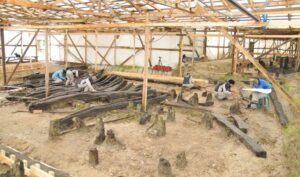 Temporary sheds provide some shelter at the Yenikapı excavation site as the team documents timbers from 37 ships recovered from a lost Byzantine port