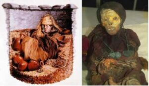 Left side: Reconstruction of what her burial may have looked like. Right side: Mummy Juanita.