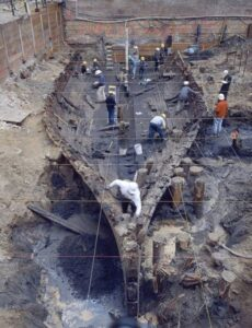 Excavation of the hull of the General Harrison, downtown SF.