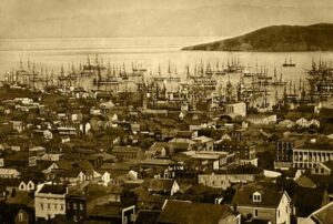 The San Francisco harbor at Yerba Buena Cove in 1850 or 1851.