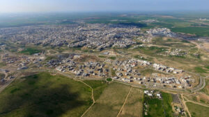 Aerial view of Rahat, a Beduin city in the Negev Desert.
