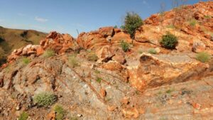 The Dresser formation in the Pilbara Craton contains evidence of ancient hot spring activity.
