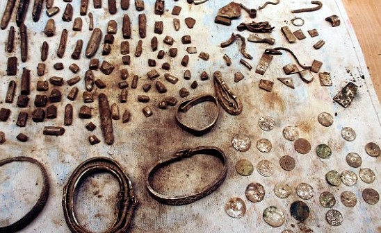 Treasure hunter digs up 200-piece haul of Viking jewellery and coins