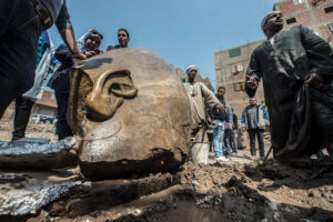 The statue believed to depict the legendary Pharaoh Ramses II, measure 8 meters long and was submerged in groundwater
