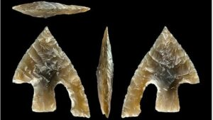 "This early Bronze Age flint arrow head was probably ""ritually broken"" then placed on top of a body being buried"