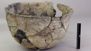 This Neolithic bowl probably contained organic matter such as food, as an offering to appease the gods