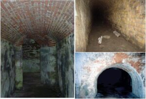 The first tunnel was covered with a wooden barricade. Inside were more tunnels that went off to the right and the left.