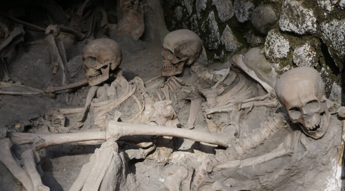 Remains of the Inhabitants of Herculaneum who took shelter in the coast buildings during Vesuvius eruption.