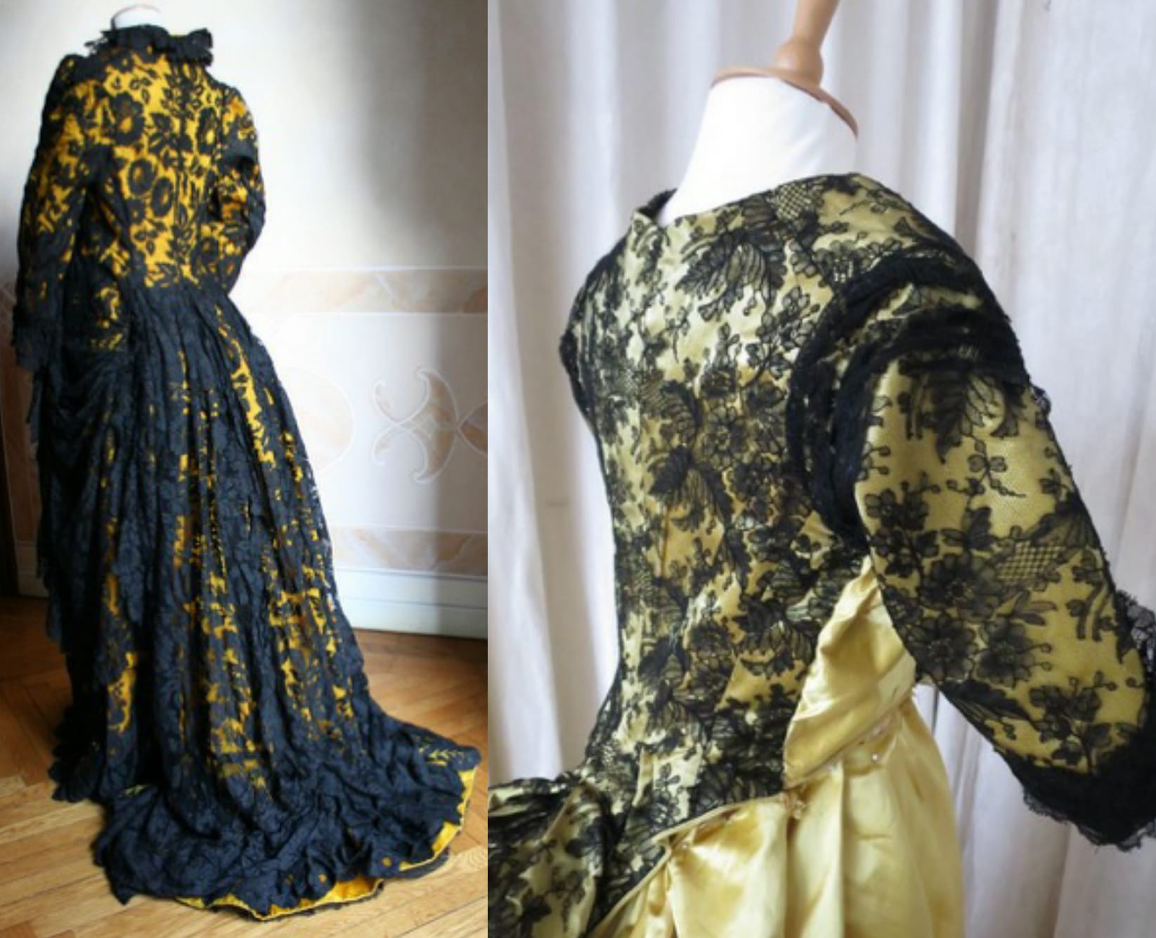 1880s yellow silk and black lace dress
