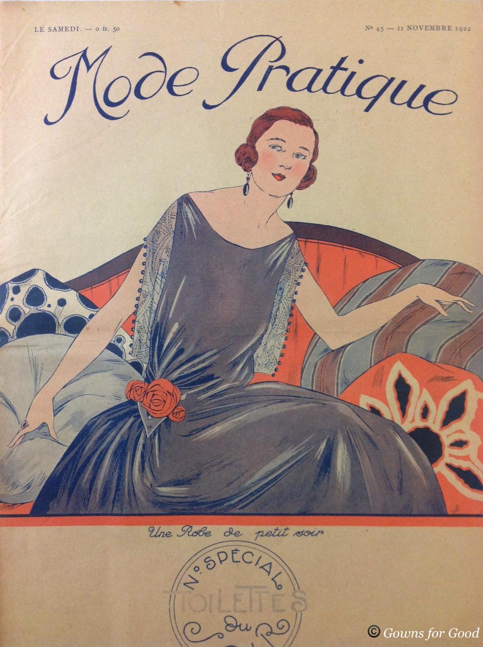 1922 Mode Pratique draped evening dress and cape project