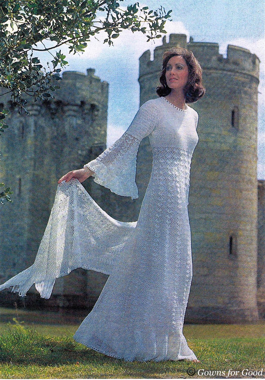 1975 ca crochet wedding dress