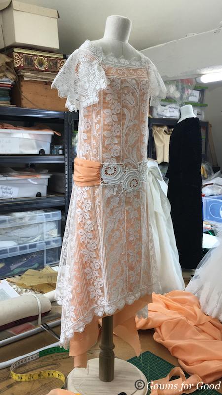 filet lace 1920s années 20 1920 dentelle au filet robe d'été summer dress diminutive 1/2 scale