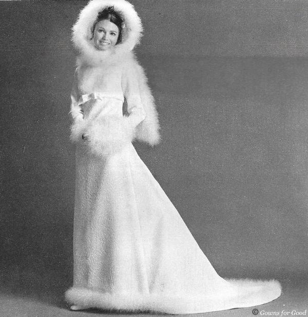 1969 wedding pattern 1960s robe de mariée 60s capuche Simplicity cygne swansdown