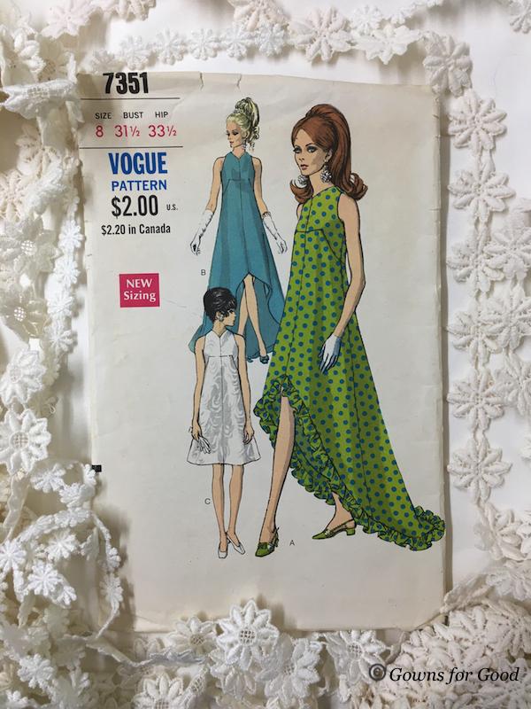 1969 Vogue 7351 long short summer wedding dress daisies 60s 1960s années 60 robe mariage mariée d'été longue courte marguerites