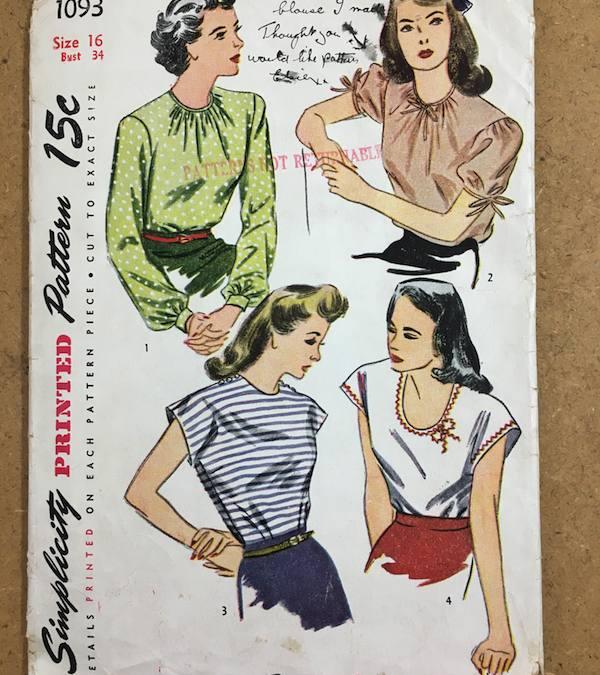 "1944 ""Simplicity 1093"" wartime silk map blouse"