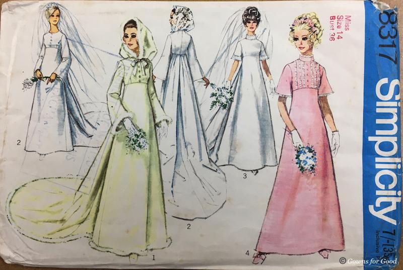 1969 Simplicity hooded wedding dress