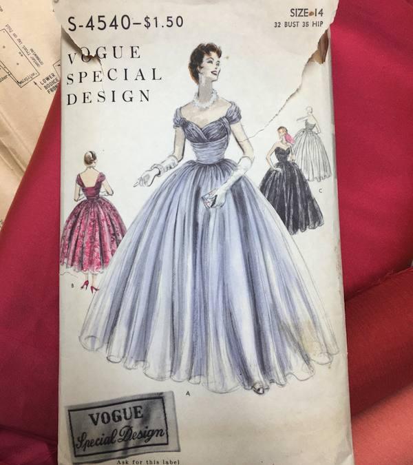 1954 Vogue chiffon evening dress