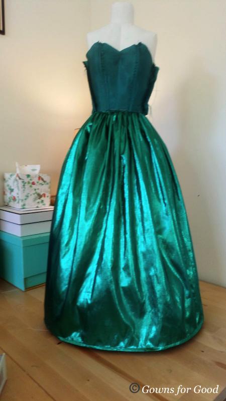 1980s green lame evening dress lining robe de soirée années 80 jupon petticoat