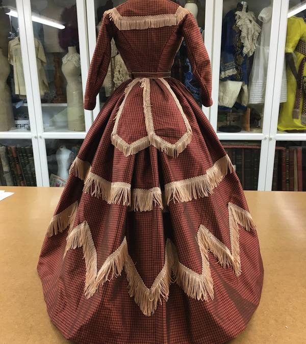 1860 ca check silk dress with two bodices