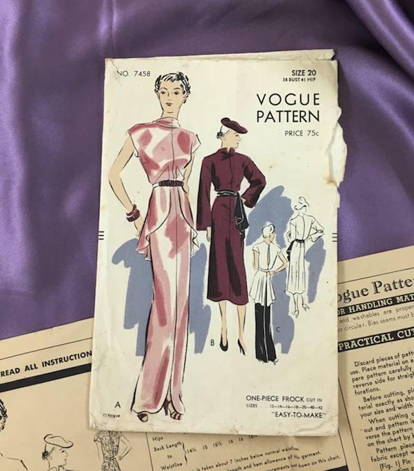 1936 ca Vogue evening dress