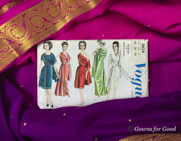 1962 Vogue sari evening dress 1960s années 60 robe de soirée saree