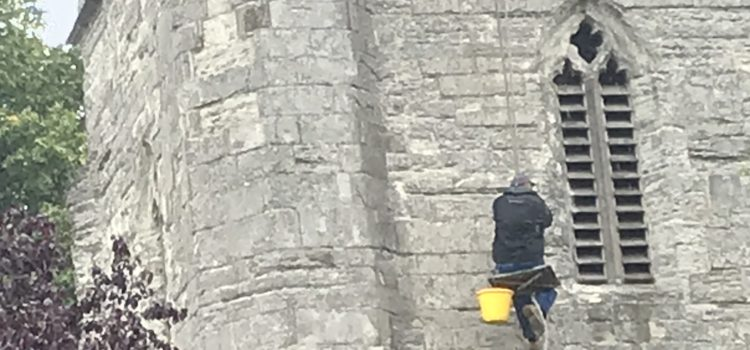 Trying to enter church when you haven't booked a service? Try abseiling!