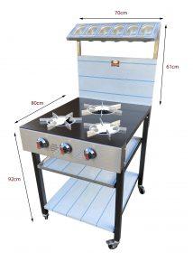 3 burner cooker dimension