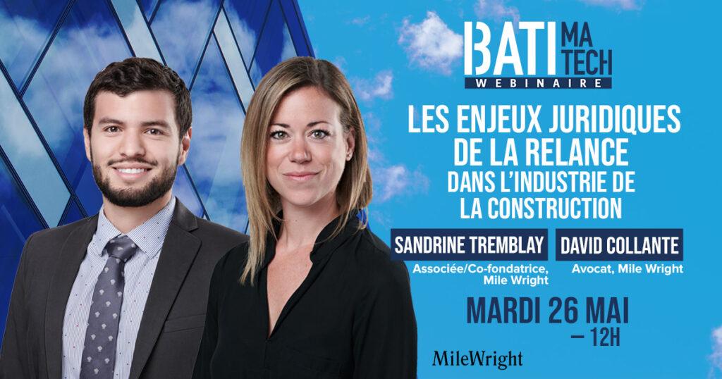 David Collante avocat, - Sandrine Tremblay, Associée, Co-fondatrice, Mile Wright webinaire12_relance_postFBavecdate