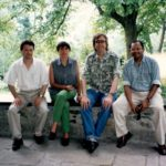 Photo of Hubert Schmitz with Khalid Nadvi, Roberta Rabellotti, Peter Knorringa at Lago d'Orta 1996