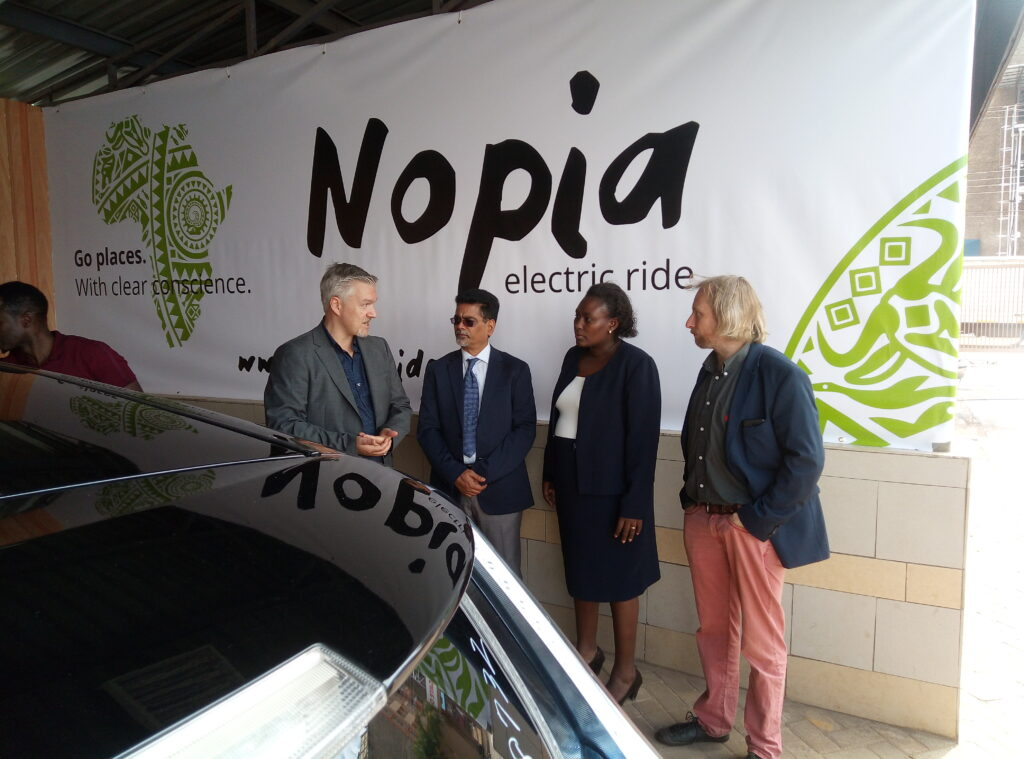 EkoRent CEO Juha Suojanen with Thika Road Mall CEO Anand Garikipati, UN Environment Electric Mobility Coordinator Alex Koerner and a representative from Ministry of Transport, Esther Gachanja