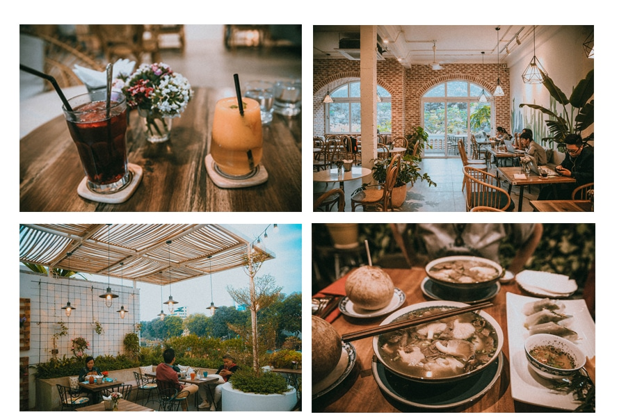 combination of the places visited in hanoi vietnam for food and drink starting with some cool trendy coffee shops for great drinks and traffic getaways with a great interior and ambience or restaurants for traditional asian cuisine and famous pho