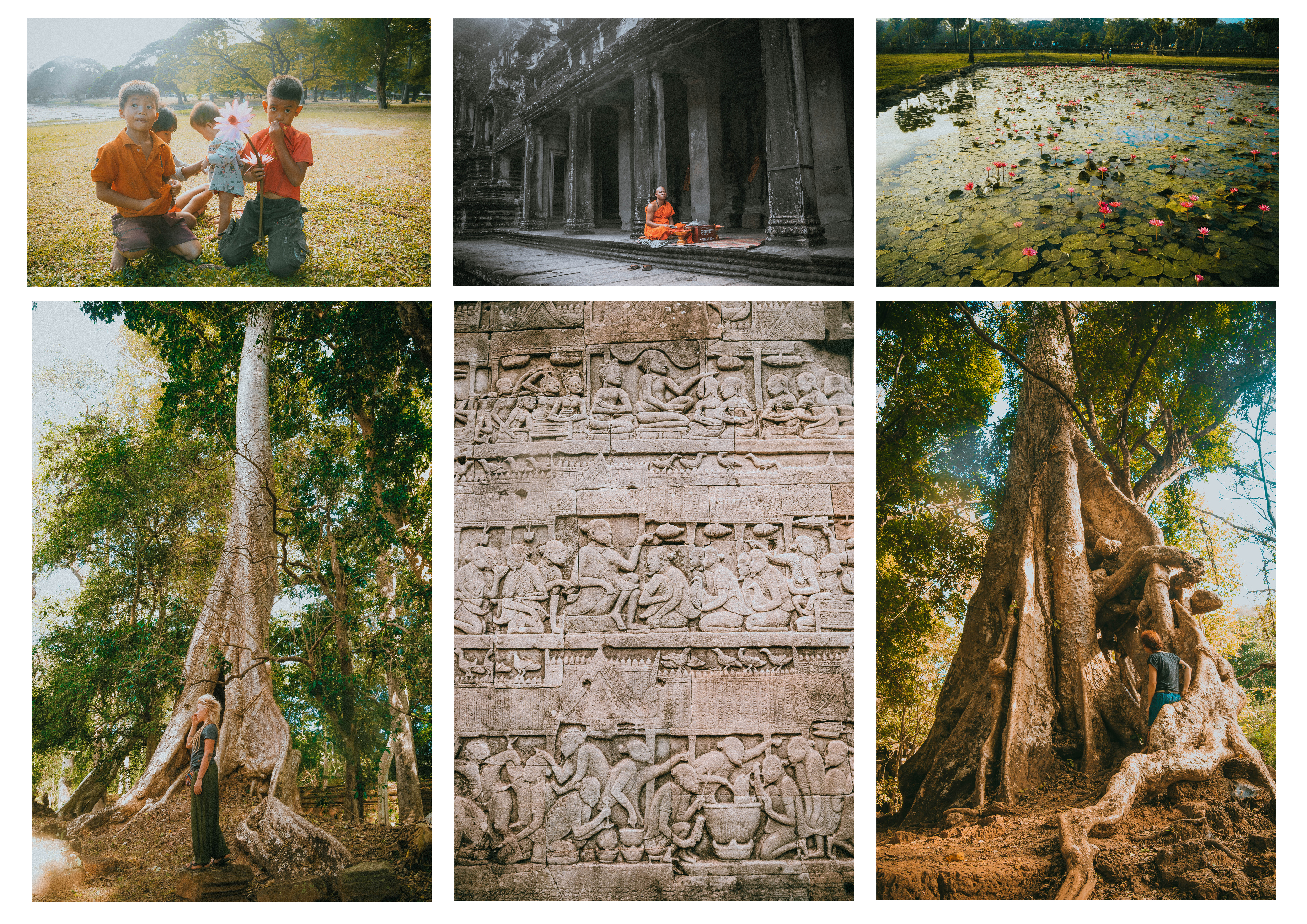 exploring iconic temples angkor wat in cambodia siem reap lake kids monk sacred place
