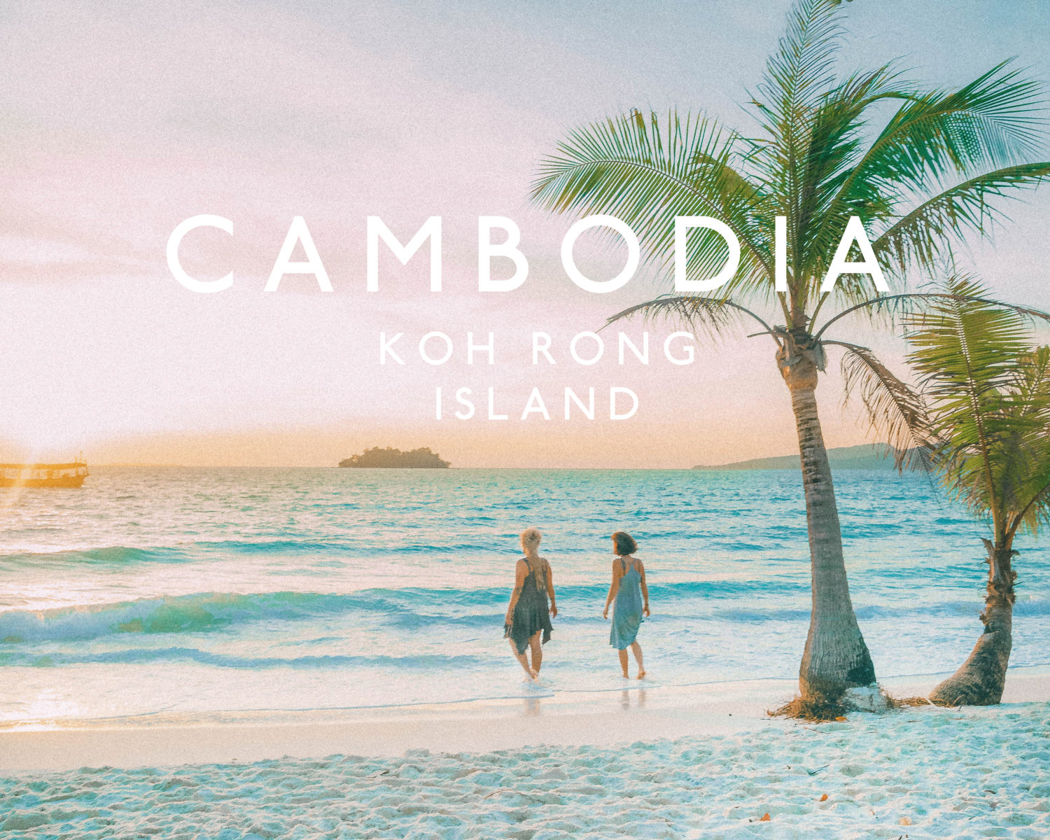 koh rong island in cambodia palms water beach sunset