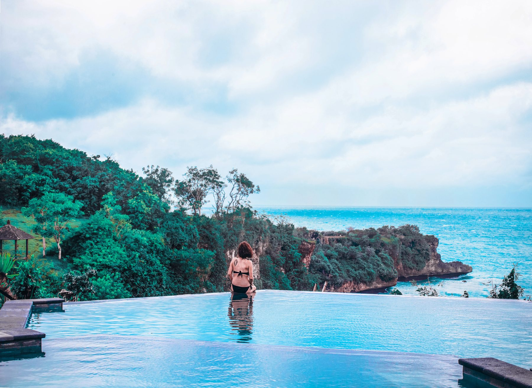 indianocean infinite pool spa day rainy season relaxing cloudy