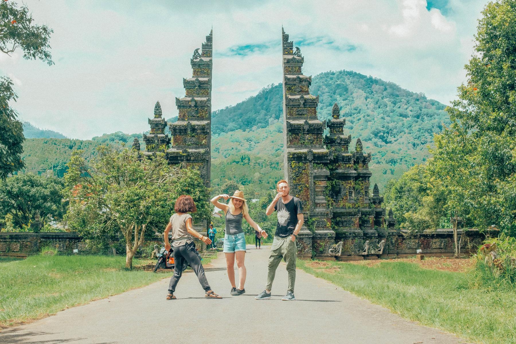 bali indonesia gate teple hindu famous spot friends having fun