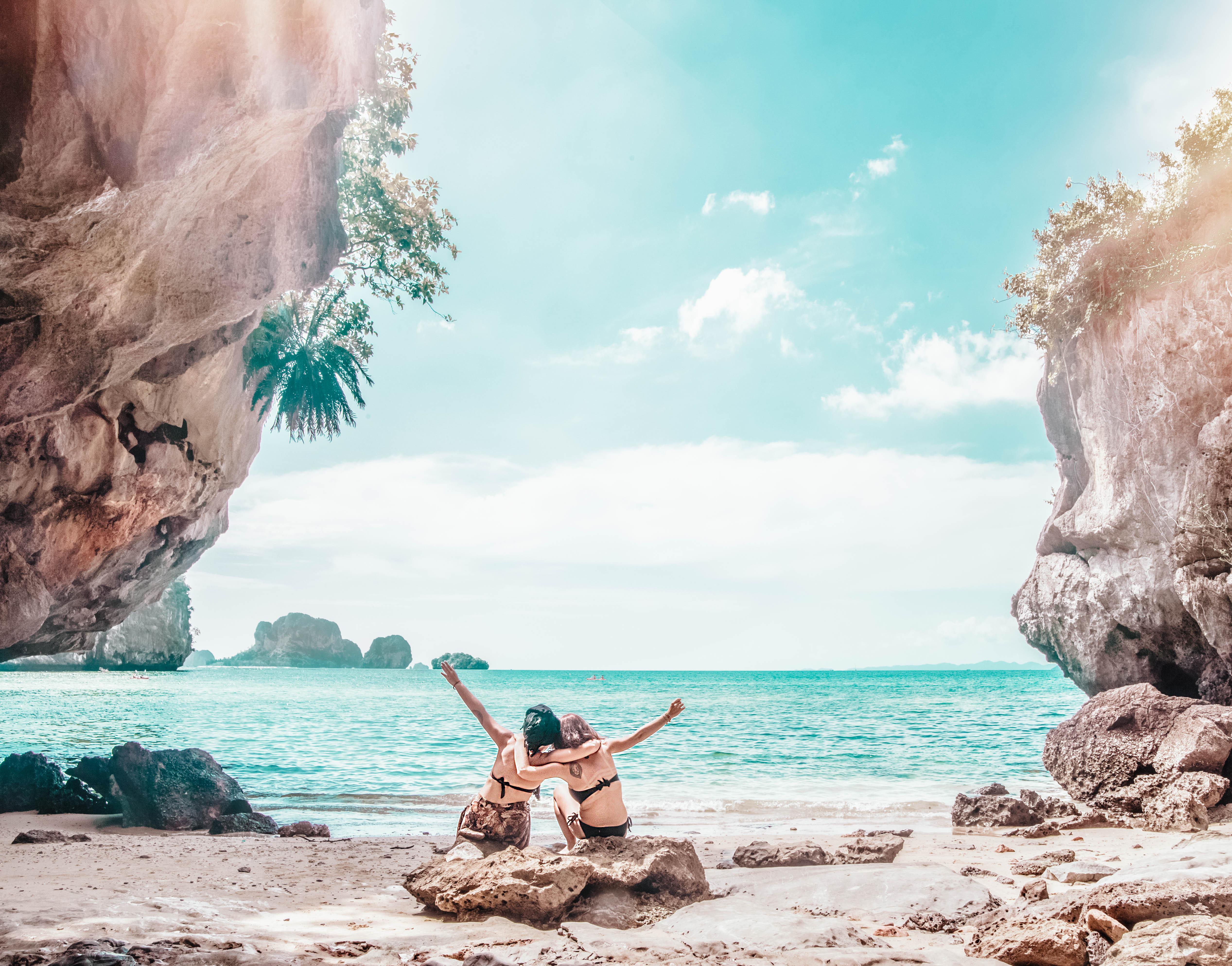 thailand beach krabi railay sunbathing beach day sun burn blue water ocean