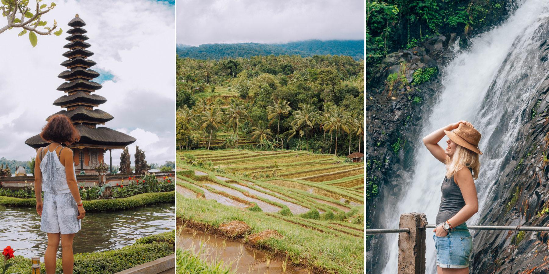 gitgit waterfall bali indonesia travel explore jungle lush green water refreshing rice terraces jungle
